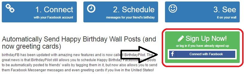And You Will See A Page There Click On The Connect With Facebook Button For Clear Understanding Following Screen Shots Post Birthday Wishes