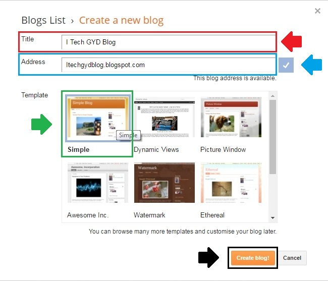 How to create your first blog on blogger i tech gyd for How to build a blog