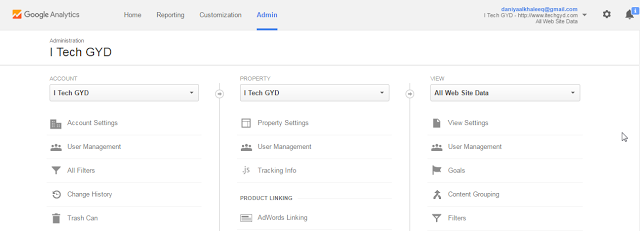 Admin Tab of Google Analytics