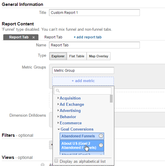 Report Name, Metric Group in Google Analytics