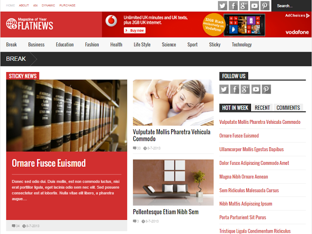 Flat News Best SEO Optimized AdSense Friendly Responsive Blogger Templates