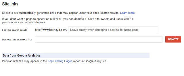 Sitelinks in Search Console