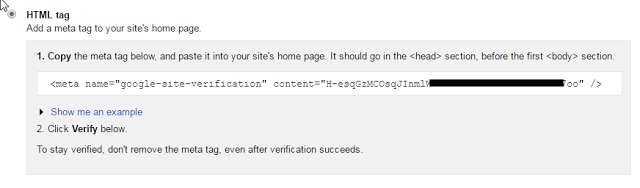 Verifying ownership by Adding HTML tag