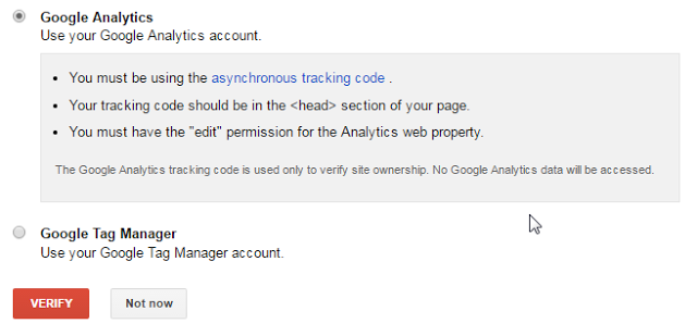 Verifying ownership by Linking Search Console to Google Analytics
