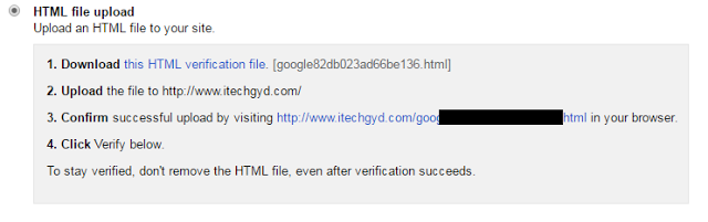 Verify ownership of your Site by uploading File
