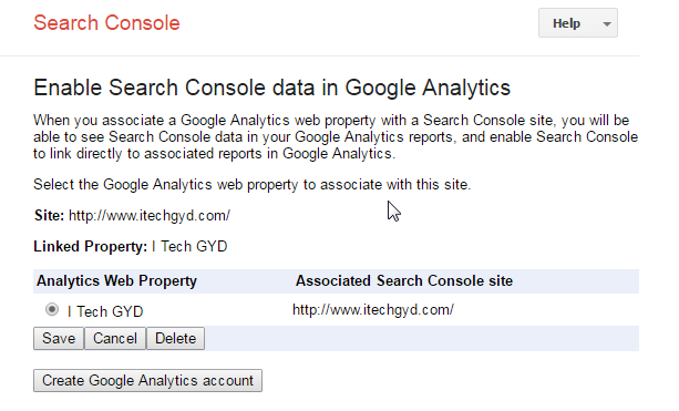 link the Google Analytics and Search Console with each other
