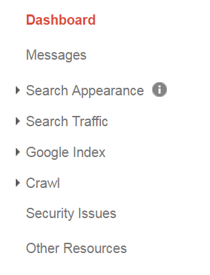 Dashboard of Search Console property