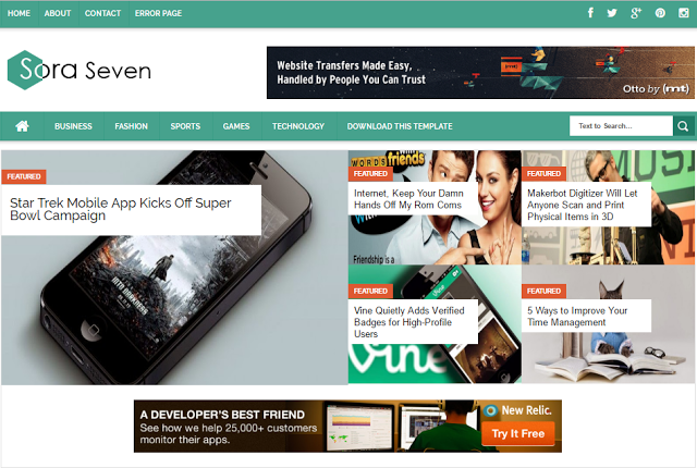 Sora Seven Best SEO Optimized AdSense Friendly Responsive Blogger Templates